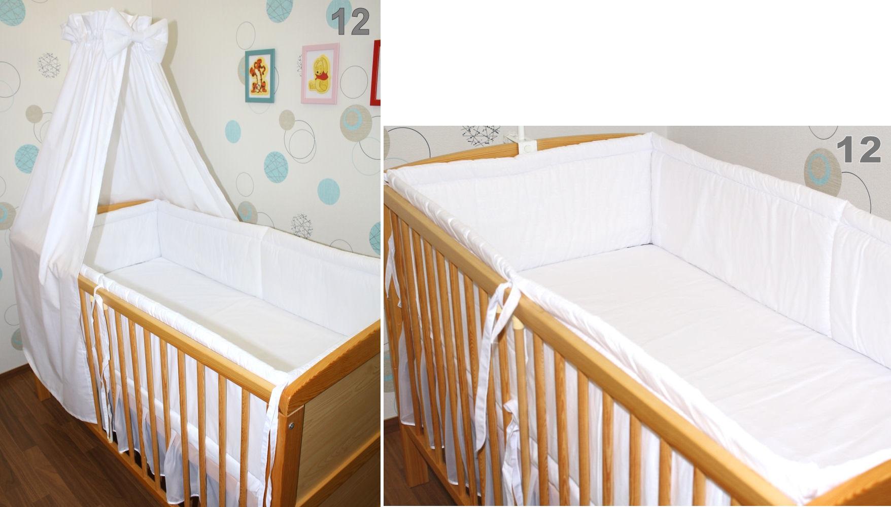 6 tlg baby kinder bettset mit 420 cm rundum nestchen. Black Bedroom Furniture Sets. Home Design Ideas