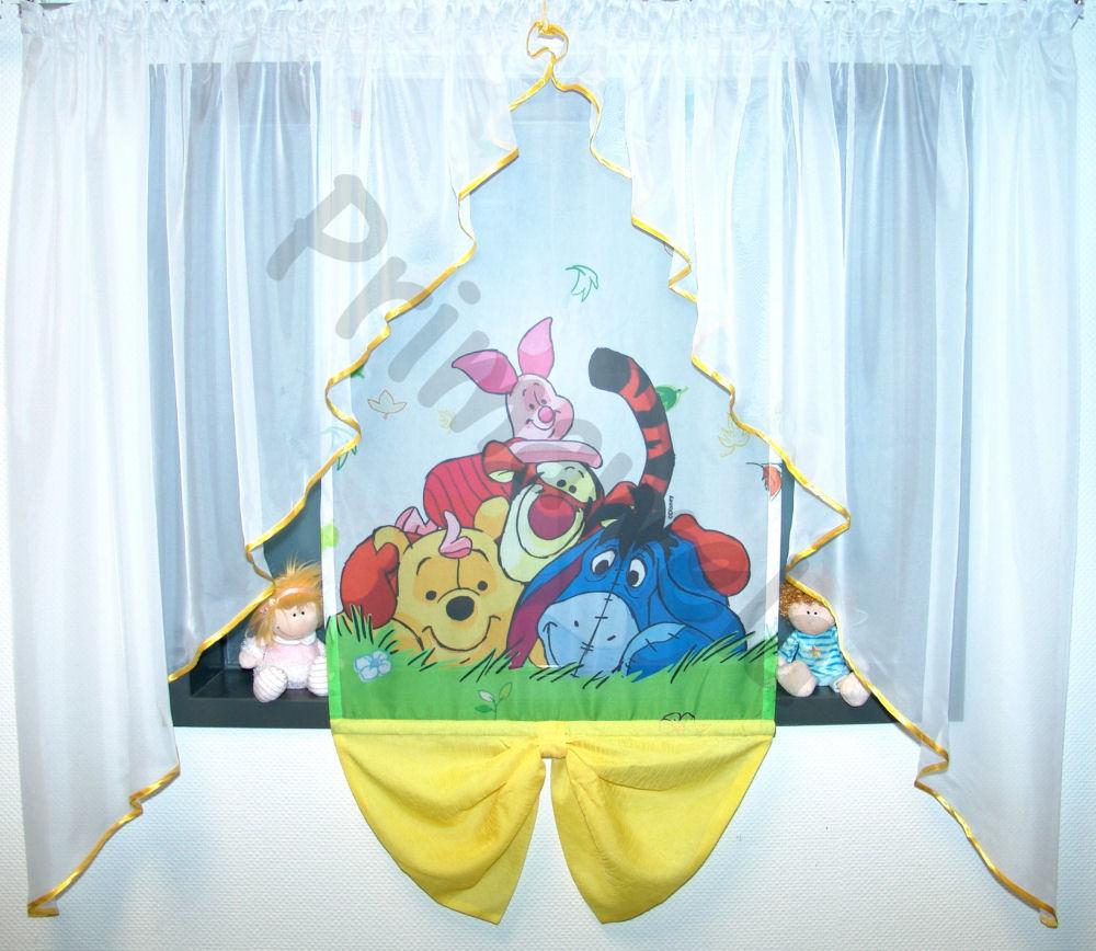 Details zu Disney, Winnie Pooh, Gardine, Kindergardine, Kinderzimmer  Gardine, Baby Gardine